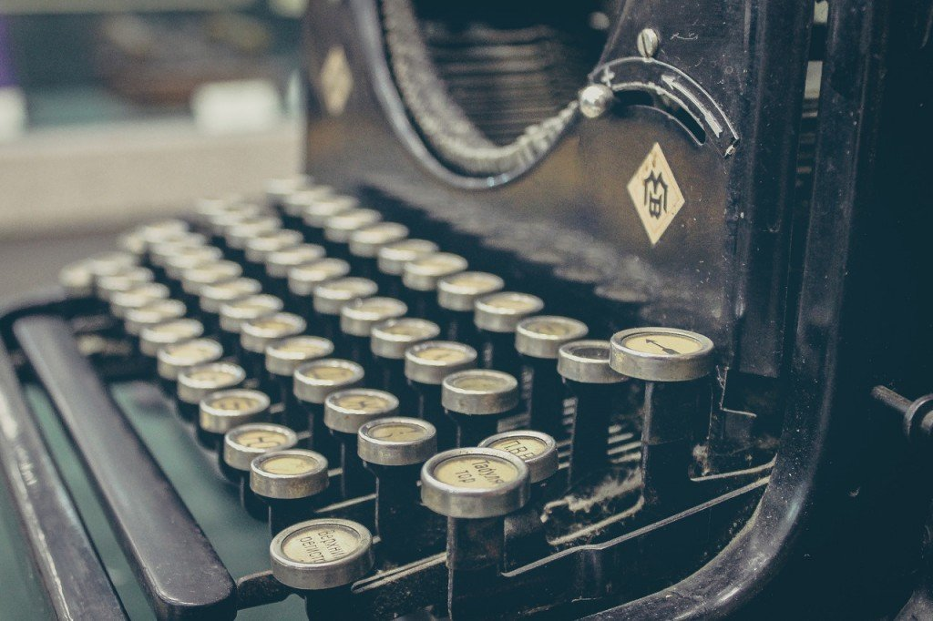 A left aligned typewriter.